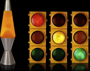 Traffic lights , lava lamps